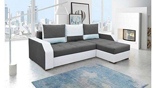 Justhome aris divano angolare divano letto tessuto finta pelle (axlxp): 90x245x150 cm bianco grigio penisola a destra