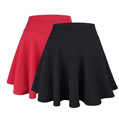 WinCret Rock Damen Basic Solid Röcke Mädchen Vielseitige Dehnbaren Faltenrock Mini Skater Rock - Schwarz+rot - Tag XXXL=EU XL (Sexy Schule Mädchen Outfits)