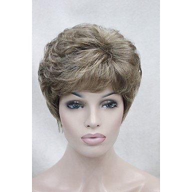 Oofay jf ® nuovo marrone chiaro con la parrucca sintetica breve delle donne ricce oro evidenziare bionda