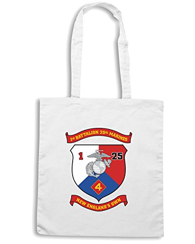 T-Shirtshock - Borsa Shopping TM0309 1st Battalion 25th Marine Regiment USMCR usa Bianco