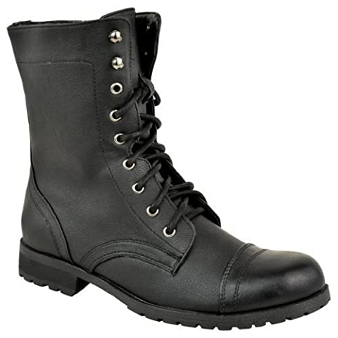LADIES WOMENS LOW HEEL FLAT LACE UP BIKER ARMY MILITARY COMBAT ANKLE BOOTS SIZE (UK 8 / EU 41 / US 10, Black Faux
