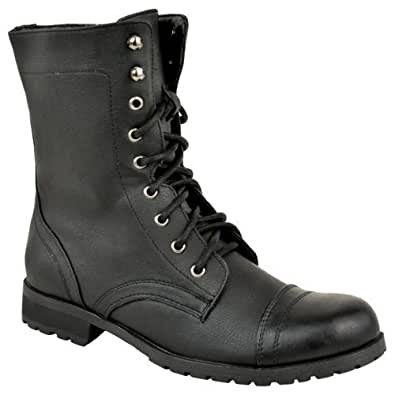 Model LADIES WOMENS COMBAT ARMY MILITARY WORKER LACE UP FLAT BIKER ZIP ANKLE BOOTS | EBay