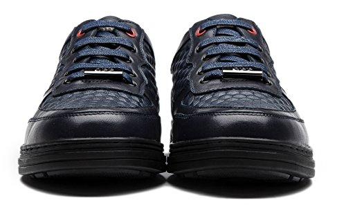 OPP Herren beiläufige Lattice Echtes Leder-Entwurfs-Spitze-up Loafer Schuhe Blau