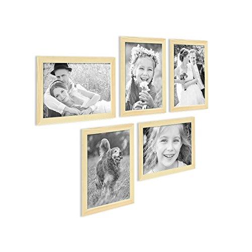 Kiefer-holz-rahmen (5er Bilderrahmen-Set 21x30 cm DIN A4 Photolini Basic Collection Modern Kiefer Massivholz inklusive Zubehör / Bilderrahmen-Collage)