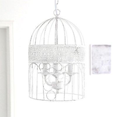 Kronleuchter BIRDCAGE weiß shabby chic Vogelkäfig Hängelampe Deckenlampe - 3