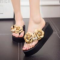 FLYRCX Señoras verano flores artesanales flip flops flip flops sandalias de playa DIY zapatillas,39,g