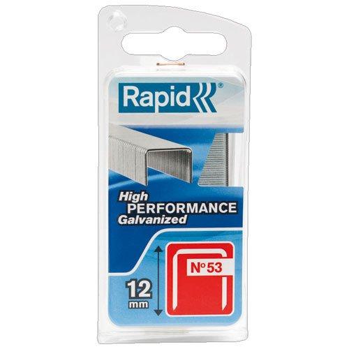 Rapid, 40109505, Agrafes en fil fin N°53, Longueur 12mm, 1080 pièces, Pour le textile et la décoration, Fil galvanisé, Haute performance