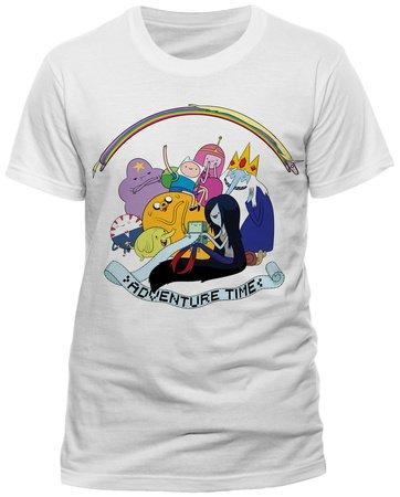 Erwachsenen T-Shirt Adventure Time Rainbow Full Cast Jake The Dog Finn The Human Tee - weiß, X Large - XL (Jake Shirt Sleeve Short)