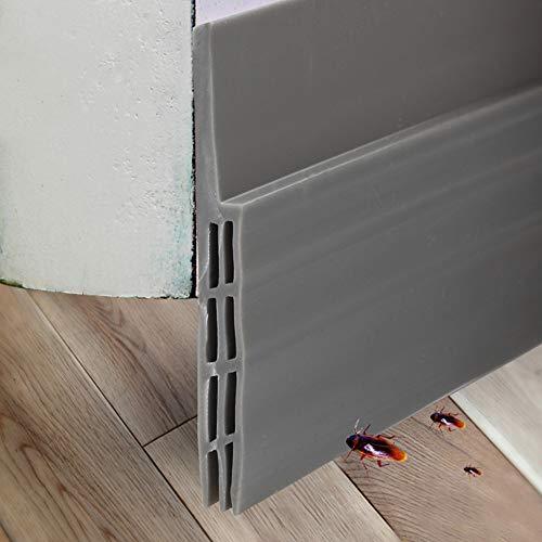EXTSUD Selbstklebende Tür Türdichtung Dichtungsstreifen Zugluftstopper gegen Insekt Ersatzdichtung Wetterfest Blocker Schalldichtung Silikon Türstopper 100 * 5cm (1 M, Grau)