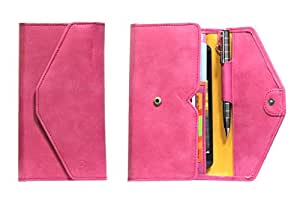 J Cover A12 Nillofer Leather Wallet Universal Phone Pouch Cover Case For Celkon A43 Pink