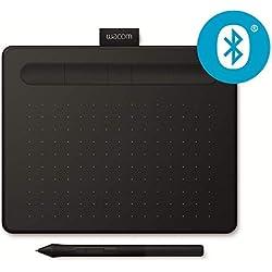 Tablette à stylet Wacom Intuos S Bluetooth, Noir-Tablette graphique sans fil pour la peinture,le dessin et la retouche photo & 2 logiciels créatifs gratuits à télécharger,compatible Windows & Mac