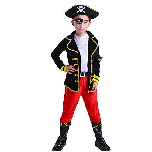 LOLANTA 8-teilige Kinder Jungen Piraten Kostüm Jungen Halloween Kostüm Kapitän Outfit Befestigen Hut Spielzeug Messer (Kinder Piraten Kapitän Kostüm)
