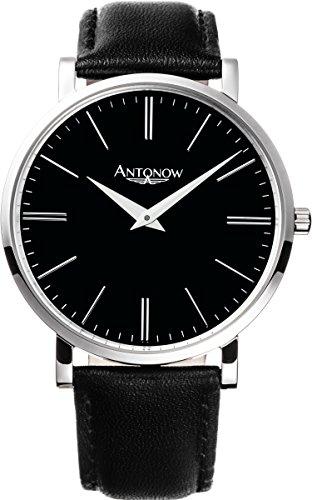 Antonow - 40mm Luxus Piloten Flieger Armbanduhr A3- Konstantyn Silber für Herren aus Edelstahl mit schwarzem Leder Armband und schwarzem Ziffernblatt und Glas mit Saphir Beschichtung - Antonov