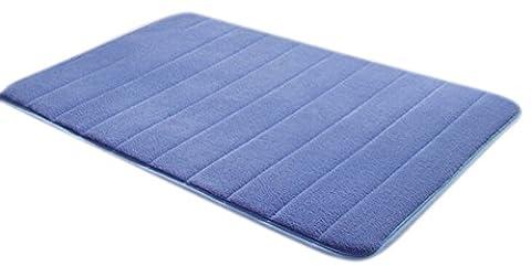 komanic sans latex en peluche en microfibre antidérapant Tapis de salle de bain en mousse visco-élastique, bleu, 40,7 x 61 cm