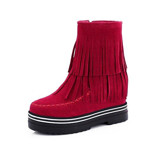 VogueZone009 Donna Nappa Cerniera Punta Tonda Tacco Alto Puro Stivali Rosso