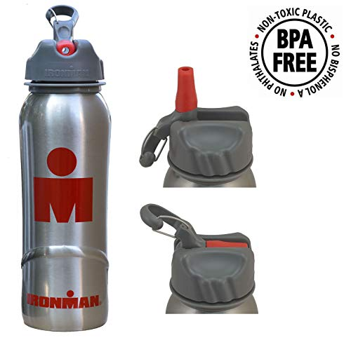 4875b333f266 IRONMAN Stainless Steel Pure Water Bottle (700ml) BPA free - with Flip Lid  and Straw - Triathlon | Running | Cycling | Fitness | Hiking