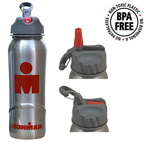 Ironman Wasserflasche aus Edelstahl, 700 ml, BPA-frei, mit Klappdeckel und Strohhalm, Triathlon, Laufen, Radfahren, Fitness, Wandern