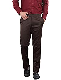 AUDACITY Trousers - Mens Formal Brown Cotton Regular Fit Trousers