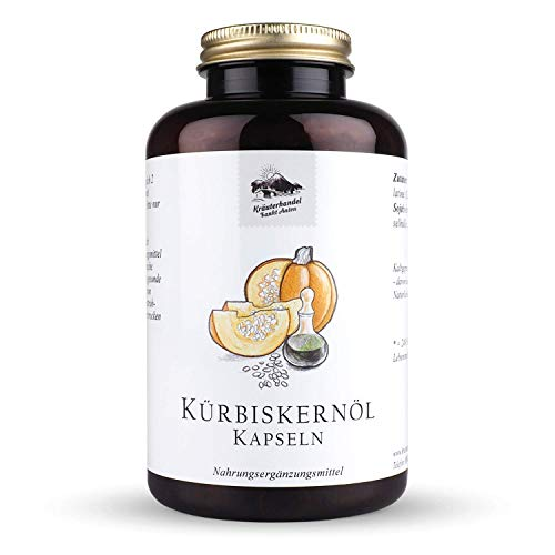 Kürbiskernöl Kapseln - 3000 mg Kürbiskern Öl pro Portion - hochdosiert - naturbelassen - kaltgepresst - mit Vitamin E*