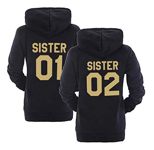 Best Friends Hoodies Sister Pullover Für Zwei Mädchen BFF Sweatshirt Kapuze Schwarz Pullis Mädchen Teenager Weiß Kapuzenpullis Geschenk 2 Stücke( Schwarz,Sister-01-M+Sister-02-M) -