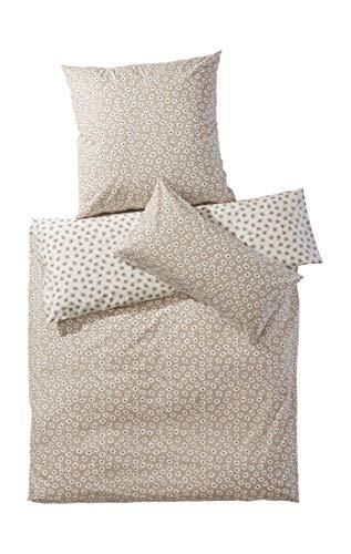 hessnatur Renforcé-Bettwäsche Millefleurs aus Reiner Bio-Baumwolle Taupe 155x220+80x80 cm