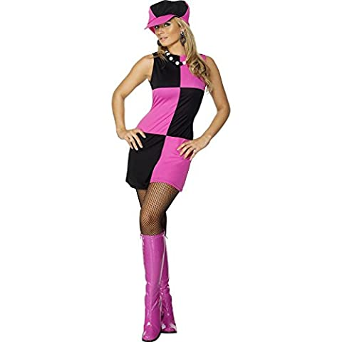 Smiffy's Adult Women's Swinging 60's Costume, Dress and Hat, 60's Groovy Baby, Serious Fun, Size: S, 30194