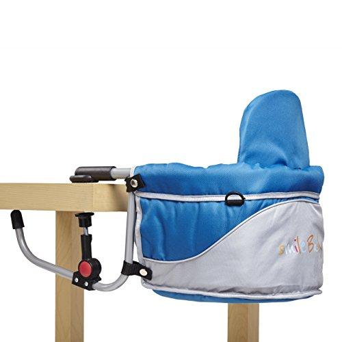 Smilebaby Tischsitz Babysitz faltbar Baby Hochstuhl Sitzerhöhung für zu Hause und unterwegs in Blau - Hochstuhl Tisch