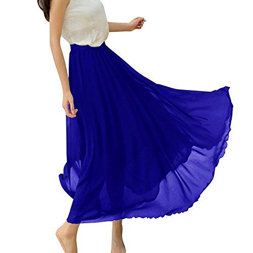 Dressystar Rétro maxi longue Jupe de plage, Jupe longue femme été en mousseline, beaucoup de couleur à choisir. Bleu Saphir