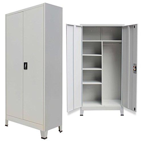 Festnight armadio per ufficio con ante acciaio 90x40x180 cm grigio (type 1)