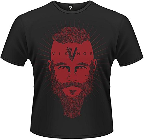 Playlogic International(World) - Vikings Ragnar Face, Short sleeve da uomo, nero (black), XL