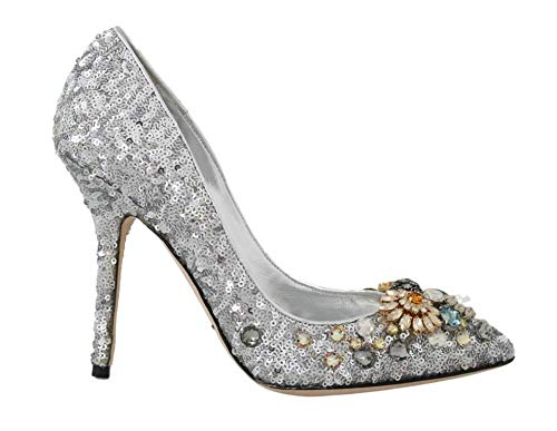 Dolce & Gabbana - Damen Schuhe - Pumps Silver Sequined Crystal Heels Pumps- EU 39 Dolce Gabbana Pumps