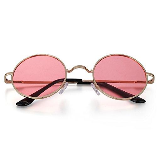 Menton Ezil Estilo John Lennon Gafas de Sol Redondo Pegueño Círculo Polarizadas Vintage Metálico de Hipis Montura Resorte a Hombres