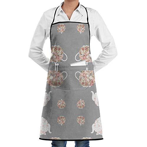 VAICR Kochschürze Küchenschürze,Apron Bib Teapots and Tea Cozies Adjustable Bib Apron with Pockets for Women&Men Chef,Black,Easy to Clean - Cozy Pocket