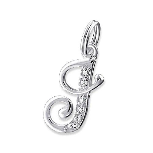 Bungsa Buchstabe J Halsketten-Anhänger Buchstaben 925 Sterling Silber mit Kristallen - Kleiner Buchstabe J Charm für Bettel-Armband - für Damen, Kinder & Herren - Silberner Letter J