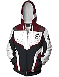 5fc9bca8e24 EmilyLe Men s Avengers Endgame Hoodie Super Hero Quantum Realm Cosplay  Costumes Long Sleeve Jacket with Zipper