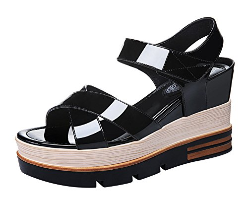 fq-real-balck-friday-womens-trendy-velcro-platform-wedge-heel-summer-glazed-pu-sandal-45-ukblack