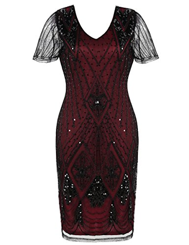 (Kayamiya 1920er Jahre Kleid Gatsby Pailletten Perlen inspiriert Cocktail Flapper Dress XL Burgund)