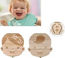 Malloom Cajas de dientes Organizador cajas de almacenaje de madera de los dientes de leche del bebé
