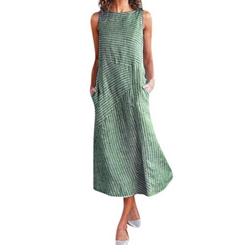 LSAltd Sommer Frauen New Classic Vintage Striped Print Ärmelloses Rundhalsausschnitt Taschen Leinen A-Line Langes Kleid -