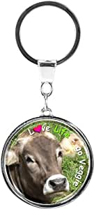 """Quality and shiny keychain in a round shape """"Cow"""""""