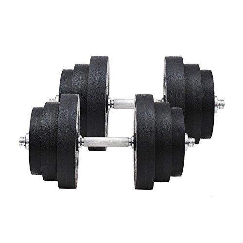 Homcom set di manubri per allenamento a casa in tubi d'acciaio e pe plastica 12 pezzi 40kg nero