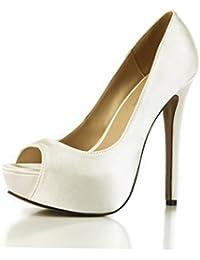CHMILE Chau-Zapatos para Mujer-Bombas de Tacon Alto de Aguja-Talón  Delgado-Sexy-Moda-Novia o Dama-Boda-Nupcial-Vestido de Fiesta… 9a822640c5f