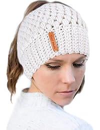 Tacobear Mujer Sombreros de Invierno Mujer Cola de Caballo Gorro Gorros con Coleta  Knit Ponytail Beanie Hat Caliente… 89532f3fe1e