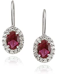 Sterling Silver Created 2ct Ruby & Sapphire Oval Leverback Earrings