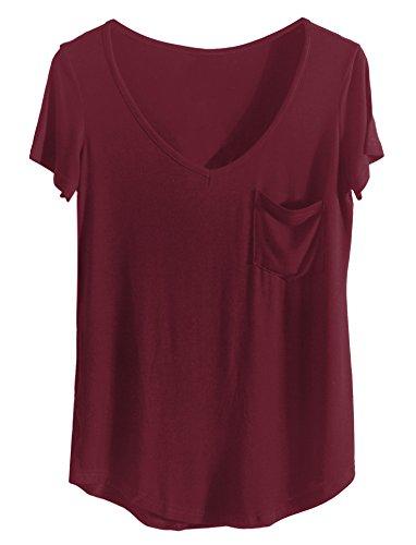 iClosam Damen T Shirt Casual Sexy und Elegante 2018 Sommer Top V Ausschnitt mit Tasche (XX-Large, Weinrot)