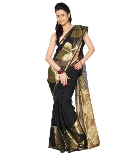Aabeer Cotton Black Supernet Banarasi Saree With Blouse Piece