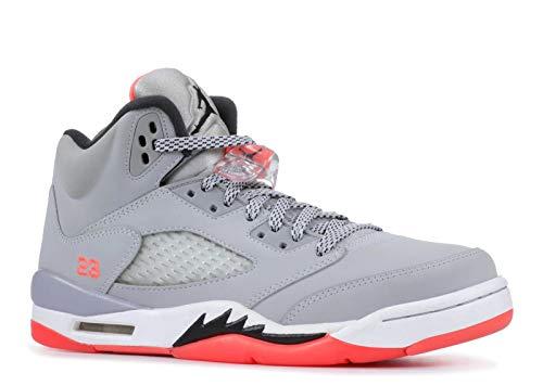 Nike Mädchen Air Jordan 5 Retro GG Laufschuhe, Rot (Wolf Grau/Schwarz-Weiß-Hot Lava), 36 EU