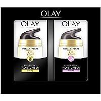 Olay Total Effects Anti-Ageing 7-in-1 Set de Regalo: Day Moisturiser 37 - ml, Night Firming Moisturiser 37 - ml