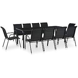 vidaXL Mobilier de Salle à Manger d'Extérieur 11 pcs Table Chaises Jardin