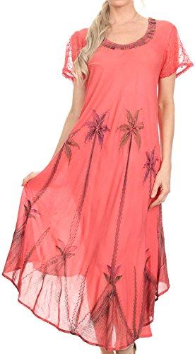 Sakkas 116 Aquarell-Palme-Behälter Kaftan Kleid - Coral / One Size (Palme Gestickte)